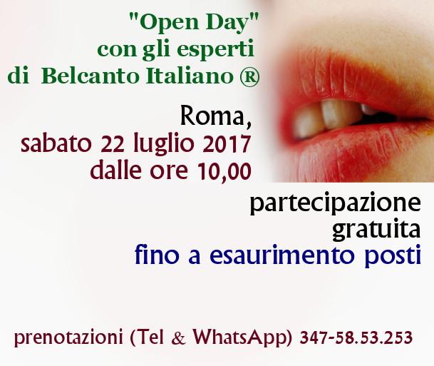 """Straordinario """"Open Day"""" di Belcanto Italiano ® a Roma – 22 luglio 2017"""
