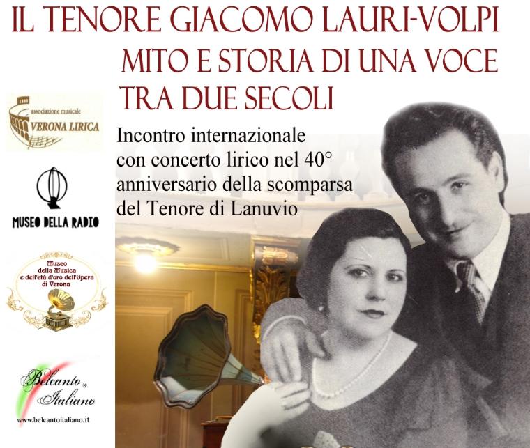 Le celebrazioni ufficiali per il 40° di Giacomo Lauri-Volpi iniziano da Verona con Belcanto Italiano ® e con il Museo della Radio di Verona alla presenza di delegazioni da Spagna e Italia