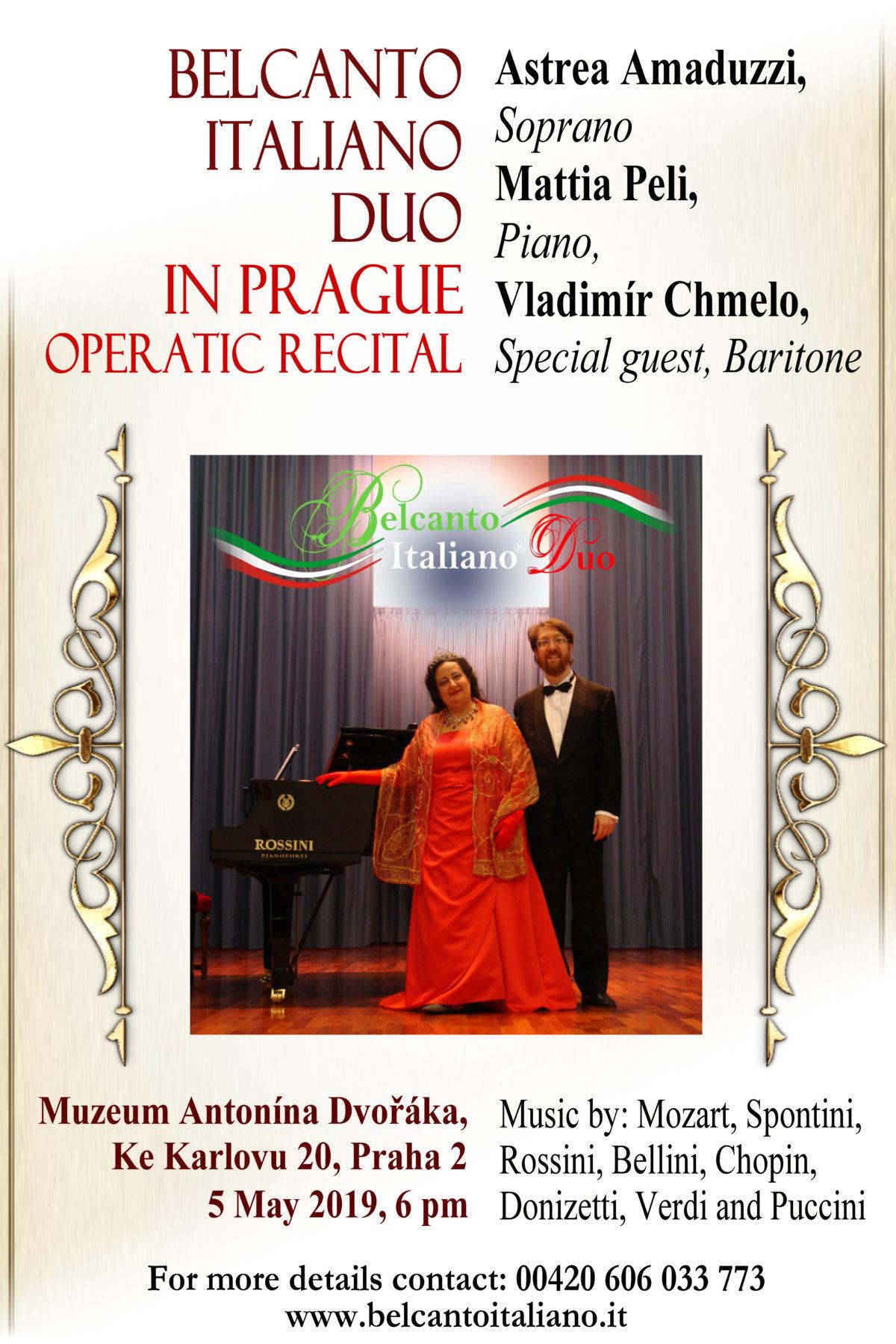 """Il """"Belcanto Italiano Duo"""" a Praga per un raffinato concerto al """"Dvorak Museum"""" – 5 maggio 2019"""